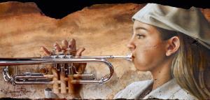 """ Trumpeter Adryana "". (detail)"