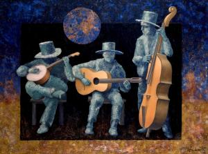 Three musicians with moon